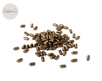 100 2.5x5mm [capsule] brass capsule tube beads