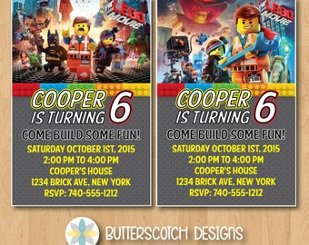 Lego Movie Birthday Invitation, Pick from 2 Designs - Printable/Digital File