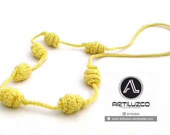 Yellow Irisbo, Crochet necklace, Necklace in natural fibers, Handmade knitted necklace