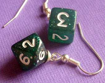 D6 D10 Earrings - Green Glitter - Geek Gamer DnD Role Playing RPG - Paw & Claw Designs