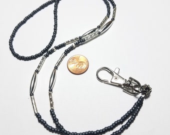 Beaded handmade badge lanyard necklace charcoal gray and silver colors southwestern