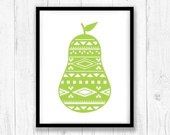 Aztec pear art printable, Modern wall art, Fruit Wall print, Wall decor instant download, Kitchen wall art, Nursery wall art, Trending