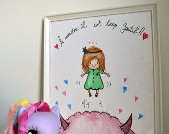 "Illustration ""Nice Monster"" child / room/reprography and original Decoration"