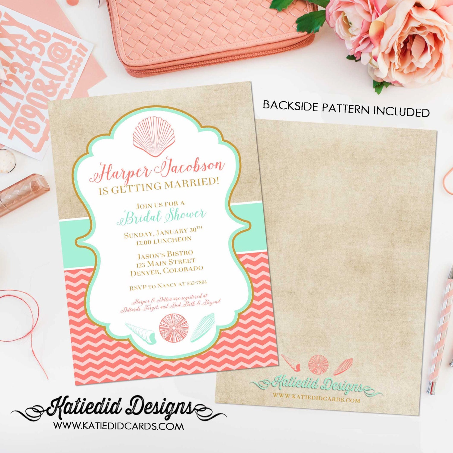 brunch bubbly bridal shower invitation couples Beach Mint coral ...