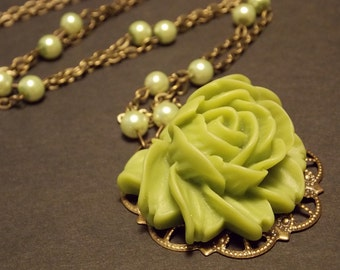 Green and Bronze Victorian Rose Statement Necklace