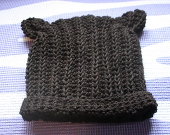 Black crocheted cat ear hat