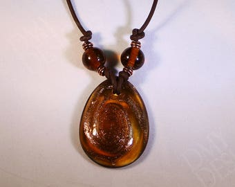Lampworked Glass and Copper Necklace
