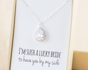 Cubic Zirconia/Silver Teardrop Necklace - Crystal and Silver - Silver Bridesmaid Necklace Wedding Jewelry - Bridal Necklace