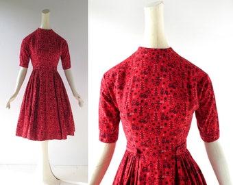 50s Novelty Dress | Landvolk | Lanz Dress | 1950s Dress | XS