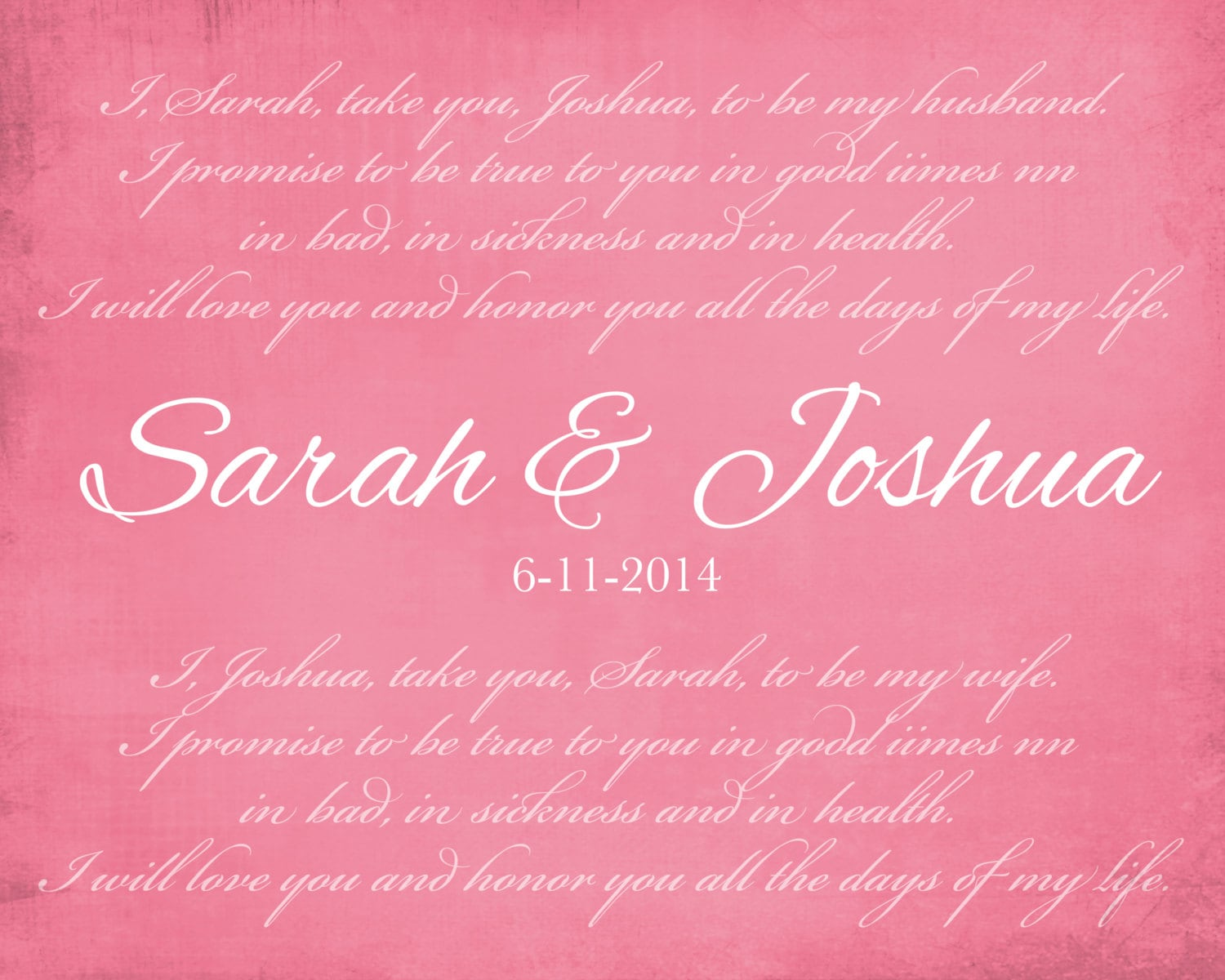 Custom Wedding Vows, Anniversary Gift for Wife for Husband 8x10 ...
