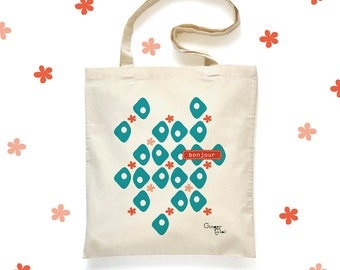 Tote Bag 'Hello' - bag in organic cotton - Organic cotton 'Hello' Tote Bag