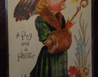 "Antique Postcard "" A pug and A Pointer"" Comic postcard.embossed1900""s"