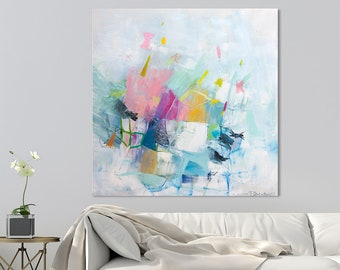 """Large Abstract painting, Canvas painting, Abstract art, Contemporary art, Colorful Modern painting """"Just Playing 04"""""""