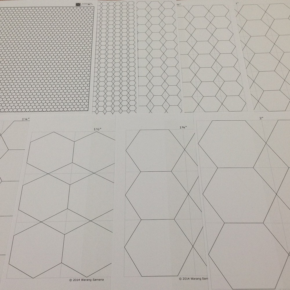 8 sizes Hexagon Templates - Standard A4, Instant downloaded PDF from ...
