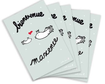 """5 cards postcards """"welcome..."""""""