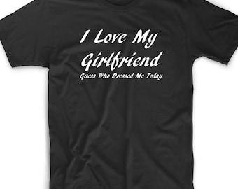 Funny T Shirt Tee I Love My Girlfriend  Novelty Birthday Gift Funny Cute Geek Nerd Wedding Bachelor Party Club Relationship