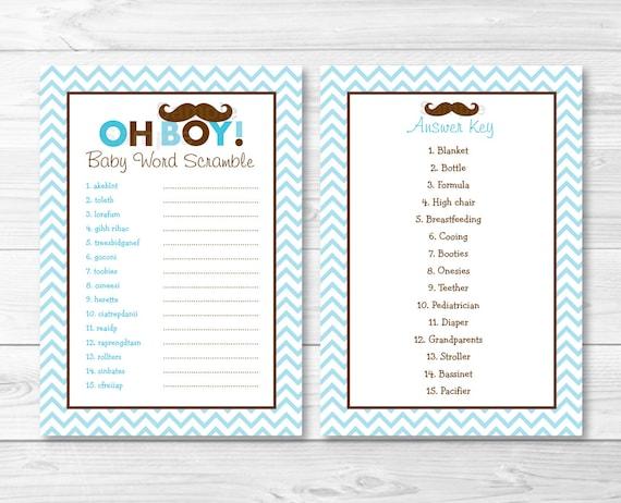 Mustache Oh Boy Baby Word Scramble / Baby Shower Game