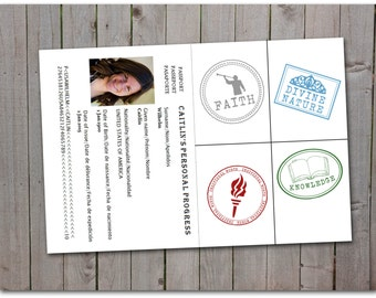 LDS Personal Progress Passport Stamps - stickers - printable instant download - Custom passport - Template - Digital Print