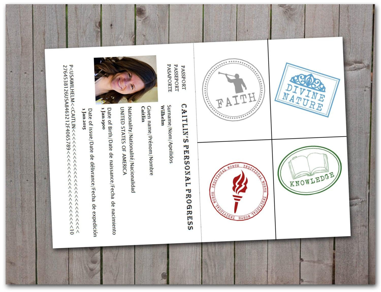 LDS Personal Progress Passport Stamps stickers printable