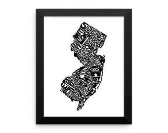 New Jersey typography map art FRAMED print customizable personalized custom state poster wall decor engagement wedding housewarming gift