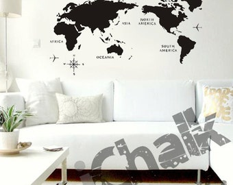 Ichalkinc on etsy a map of the world chalkboard sticker wall decal for home or office modern chalk gumiabroncs Gallery