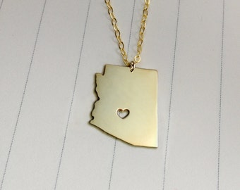 Gold Arizona State Necklace,AZ State Necklace,Arizona State Charm Necklace,State Shaped Necklace  With A Heart