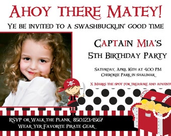 Red Pirate Girl DIY Printable Party Invitation
