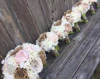 Shabby Chic Bouquet, Burlap and Lace Bouquet, Rustic Bouquet, Rustic Brooch Bouquet, Rustic Wedding Bouquet