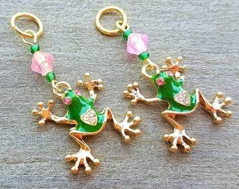 Hörgeräte Charms: Erstaunliche Gold vergoldet grüne Frösche mit Juwelen Herz, Augen und Glas Beads Akzent!