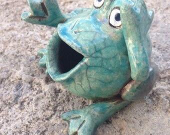 Raku turquoise hand molded frog
