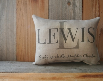 Personalized Pillow, Custom Pillow, Housewarming Gift, anniversary pillow, Wedding Day Pillow, Name Pillow, Wedding gift pillow, Family Name