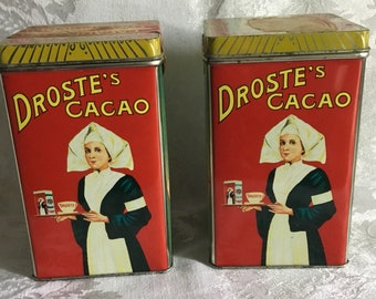 Pair of Vintage Droste's Cacao Powder Tins
