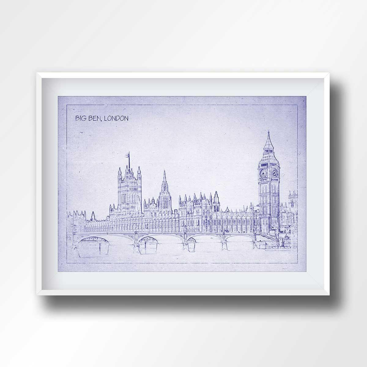 Big ben blueprint big ben poster big ben print london zoom malvernweather Image collections