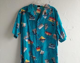 Vintage Hawaiian Shirt Large Jantzen Mens Hawaiian Beach Party Large Tiki Classic Blue Luau 60's 70's party