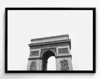Paris Print, Paris Photo, Black and White Art, Arc de Triomphe, Paris Printable, Paris Wall Art, Paris Poster, Paris Digital Print