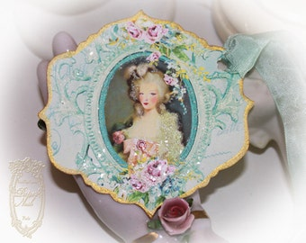 Tags, Gift Tags, Favors Marie Antoinette Musique of Enchantment Set of Six Gold Gilded Tags