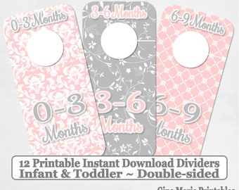 Printable 12 Baby Girl Toddler Double-Sided Closet Dividers Light PInk Grey Shabby Damask Sizes NB-6 - DIY Instant Download - Nursery
