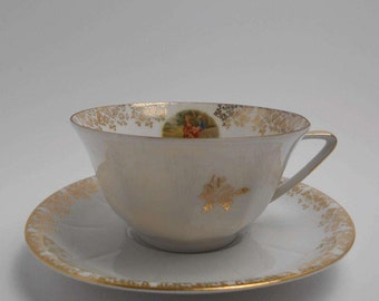 Vintage French Teacup - Limoges - Gold & White - Romantic