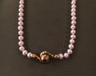 14k plated Pearl and gold necklace