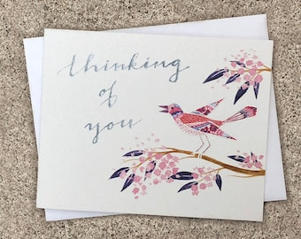 Cloisonné Thinking of You Bird Card Pink Blue