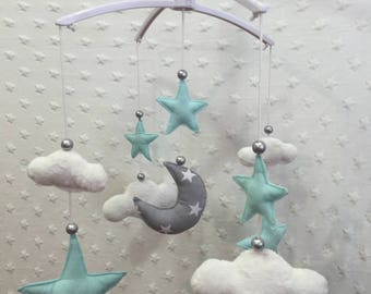 Musical mobile, grey and mint Christmas collection