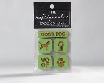 Gift for dog lover. Refrigerator Magnet. Fridge Magnets. Kitchen Decor. Fridge Magnet Set. Good Dog.