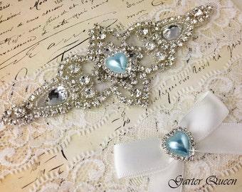Ivory Lace Garter Set, Something Blue Wedding Garter, Bridal Garter set, Rhinestone Garter, Ivory Garter, Crystal Garter