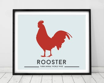 ROOSTER PRINT, Animal nursery prints, Farm animal decor, Kids room art, Country style decor, Animal Art by little grippers