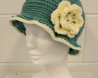 Sage Green Crochet Cloche Hat, vintage style hat, handmade crochet hat, green and cream cloche hat, vintage style soft hat, green hat