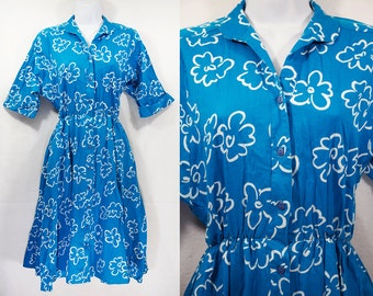 10 Dollar Sale---Vintage 80's PETITES by WILLI Blue & White Floral 50's Style Dress Size 6