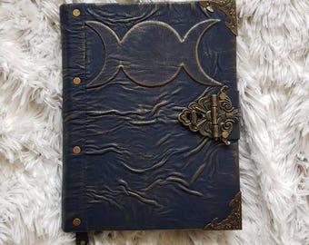 Handmade leather grimoire.  Spellbook.  Book of shadows. Triple moon