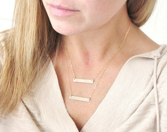 Layered Necklaces, Personalized Bar Necklace, Personalized Necklace, Gold Bar Necklace for Her, Gift for Her, The Silver Wren Jewelry
