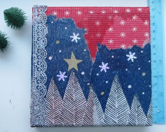 Christmas Winter Wall Art Canvas Decoupage Glitter Collage