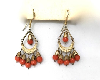 Egyptian Revival Art Deco Gold and Coral Beaded Vintage Pierced Hanging Earrings